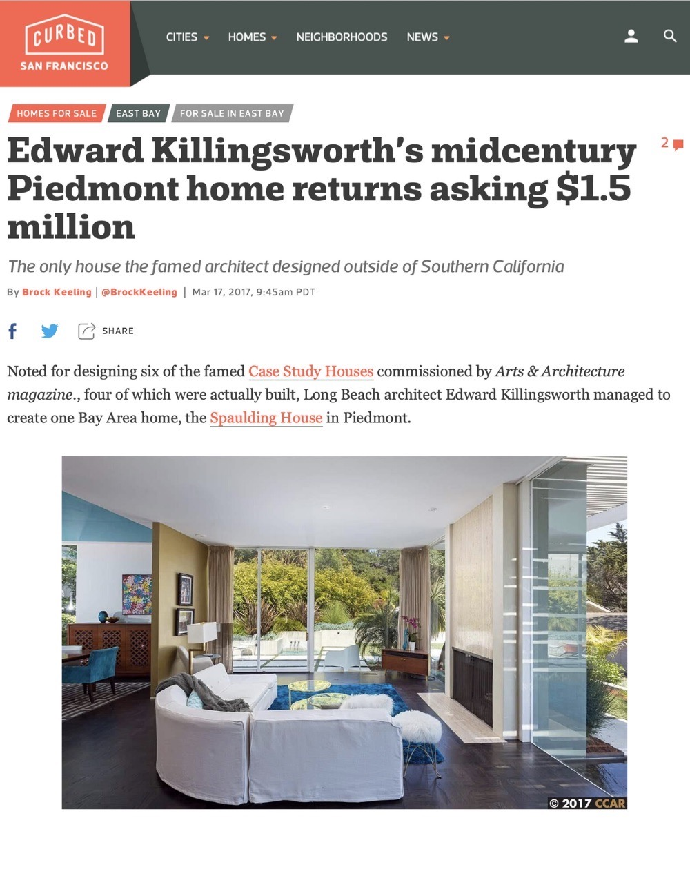 Edward Killingsworth's Midcentury Piedmont Home Returns Asking $1.5 Million