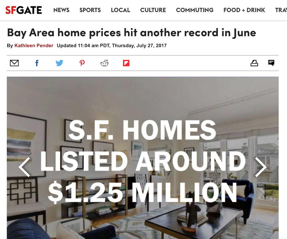 Bay Area Home Prices Hit Another Record in June
