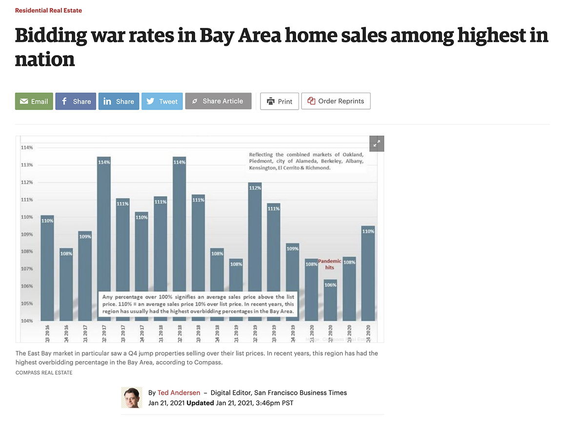 Bidding war rates in Bay Area home sales among highest in nation