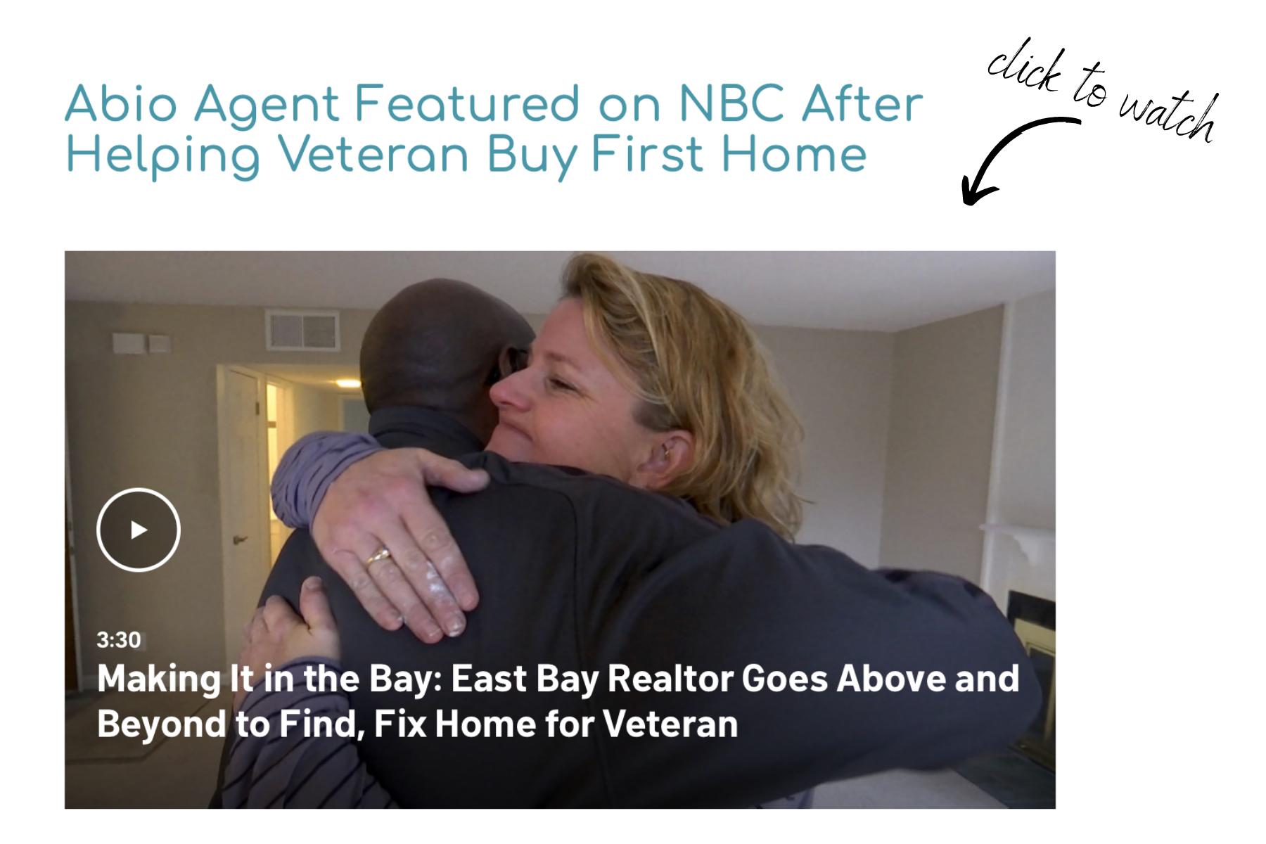 NBC news clip featuring a VA home loan recipient hugging real estate agent Mariah Bradford