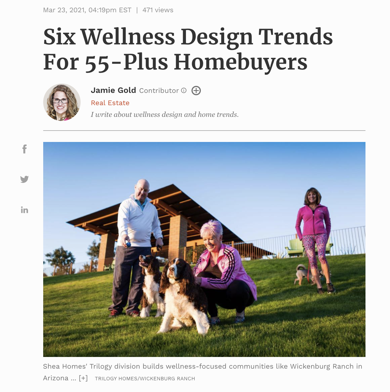 Six Wellness Design Trends For 55-Plus Homebuyers